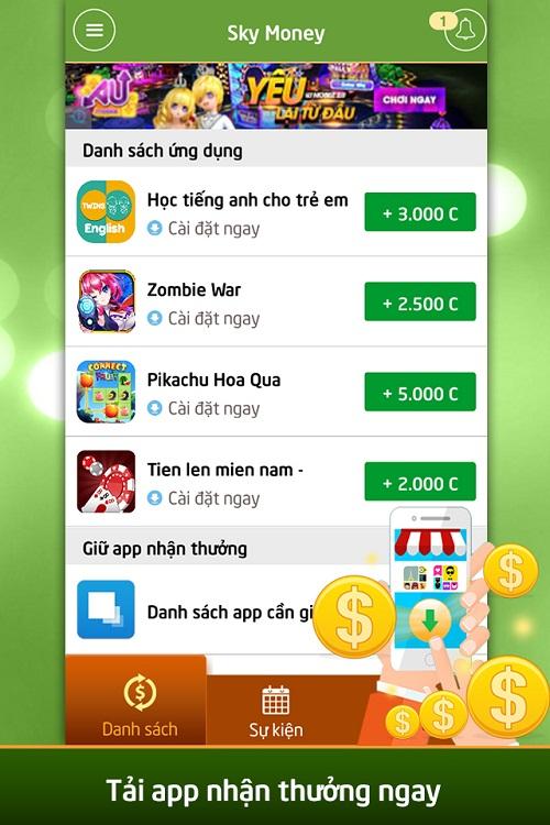 Tải app nhận thẻ cùng kiếm tiền online.