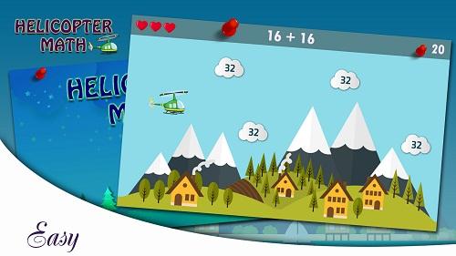 chơi game trí tuệ helicopter math cùng chế độ easy.