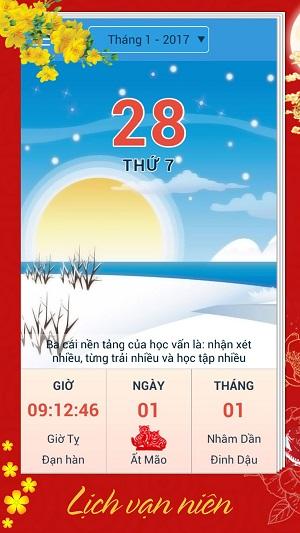 Giao diện lịch vạn niên